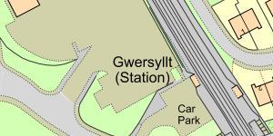 Map of Location of Gwersyllt Rail Station, Wrexham