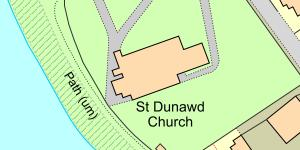 Map of Location of St Dunawd's Church, Bangor-on-Dee